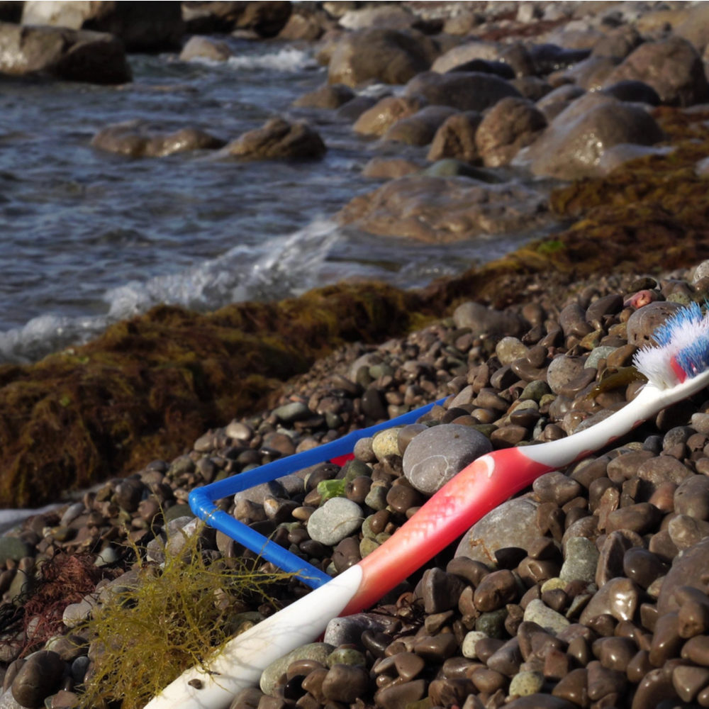 Toothbrush waste on the beach
