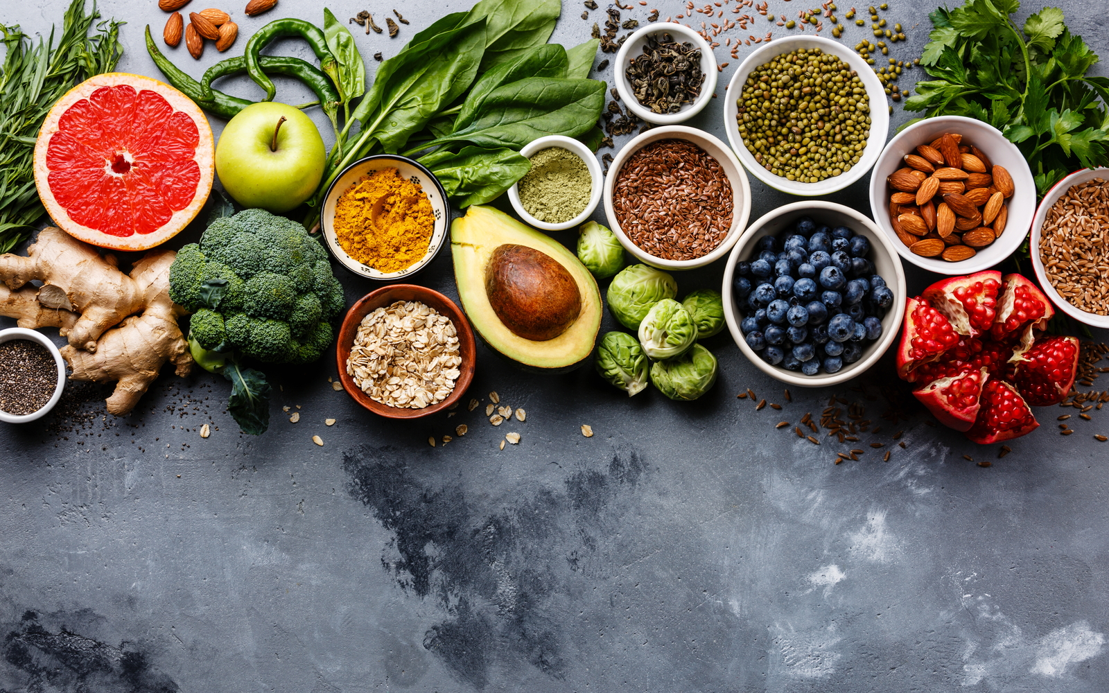 A selection of tooth healthy food