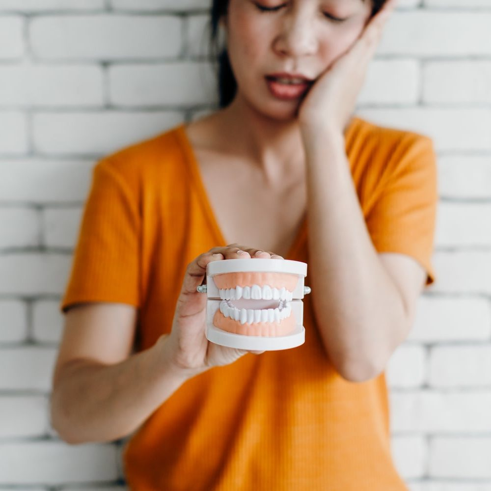 Woman Holding Model With Tooth Pain